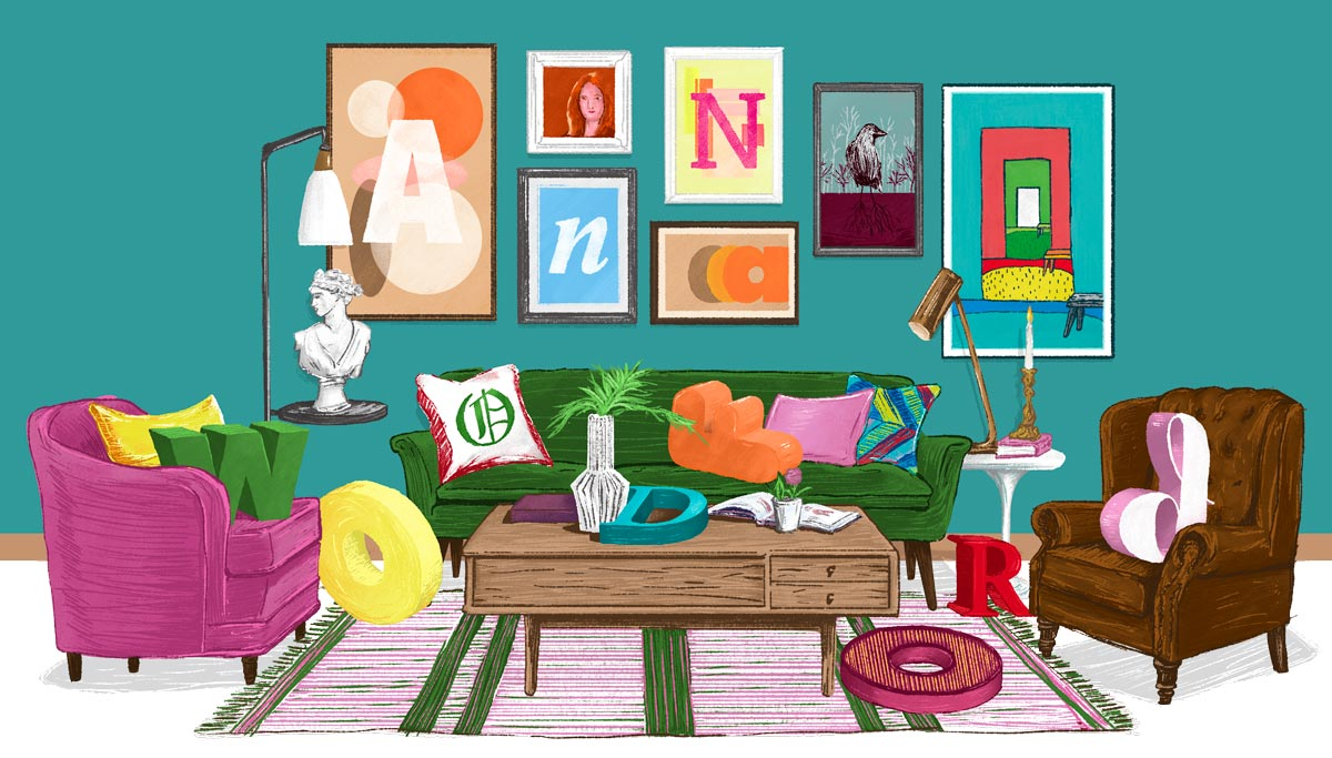 Illustration of a living room with 3D letters scattered throughout